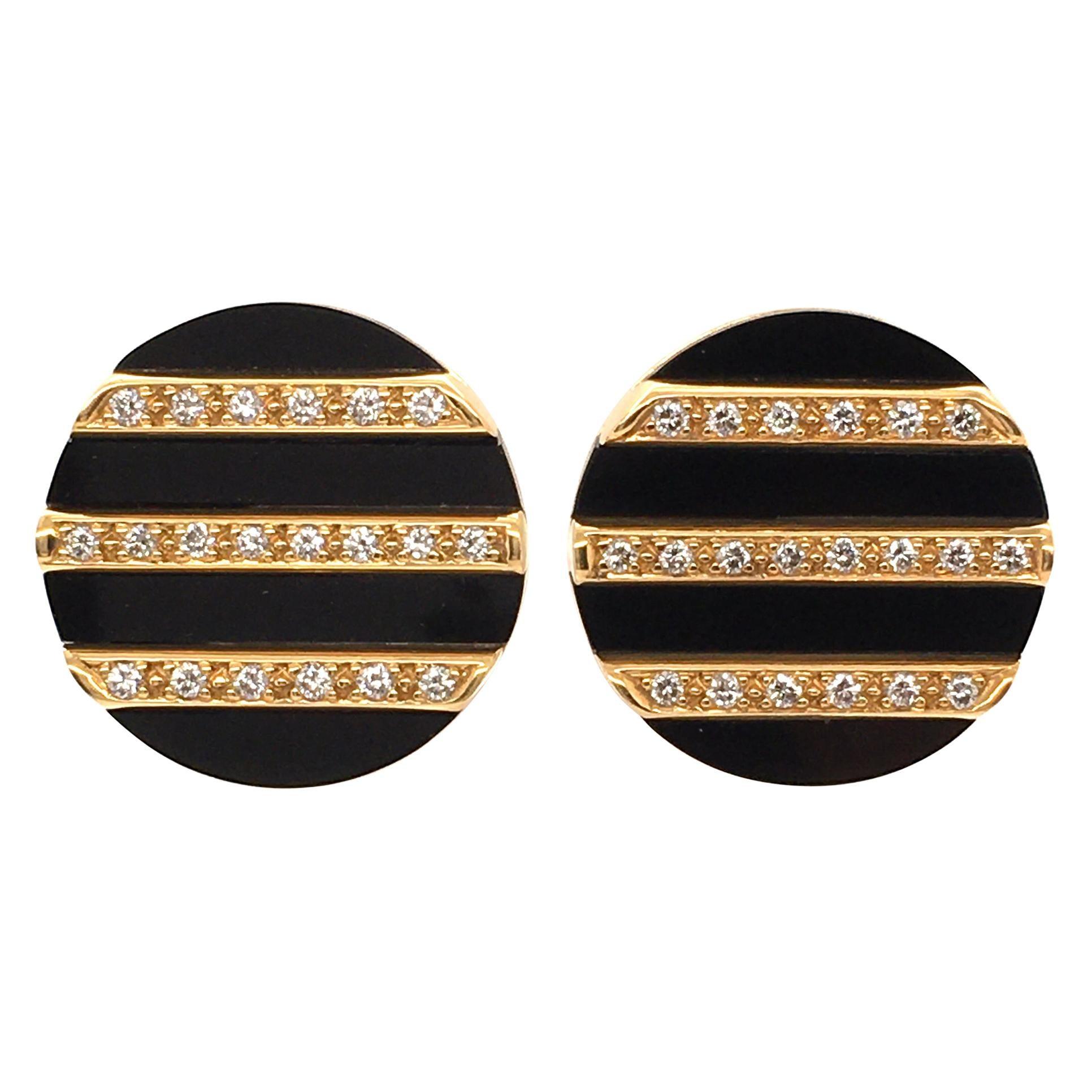 Diamond and Black Chalcedony Earclips in 18 Karat Yellow Gold