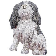 Diamond and Black Diamond Dog Brooch Set in 18 Karat Gold Settings