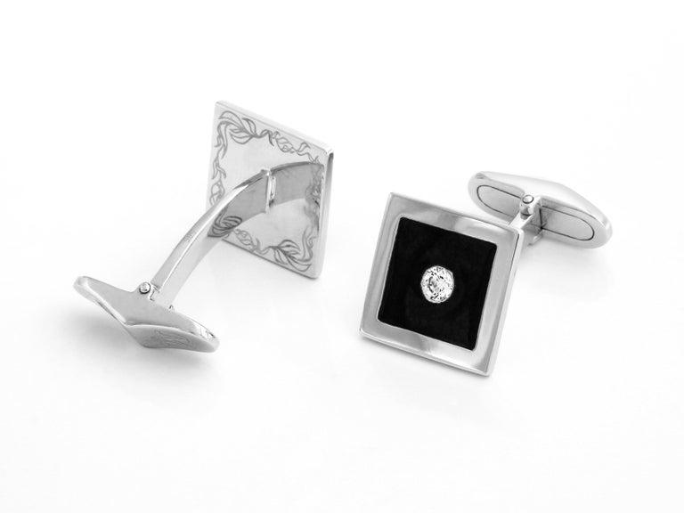 Art Deco Diamond and Black Enamel Cufflinks in 18 Karat White Gold For Sale