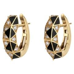 Diamond and Black Enamel Hoop Earrings