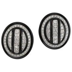 Diamond and Black Enamel Oval Earrings by David Webb