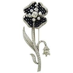 Diamond and Black Jade Platinum Brooch