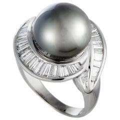 Diamond and Black Pearl Platinum Ring
