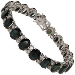 Diamond and Black Sapphire Bracelet, circa 1960s