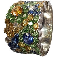 Diamond and Blue and Yellow Sapphire Ring in 18 Karat White Gold