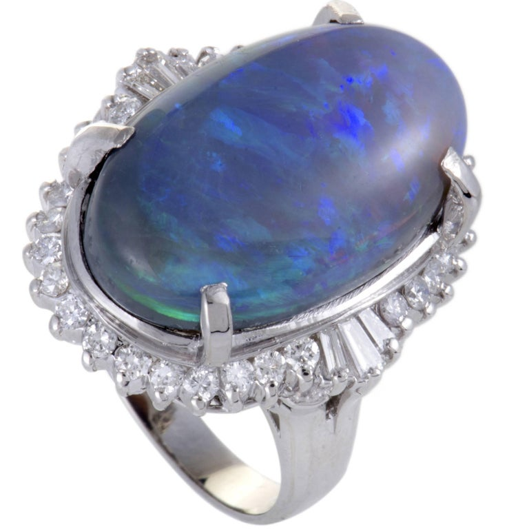 Diamond and Blue Opal Cabochon Platinum Ring