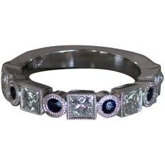 Diamond and Blue Sapphire 1.47 Carat Half Eternity Band, 14 Karat W, Ben-Dannie