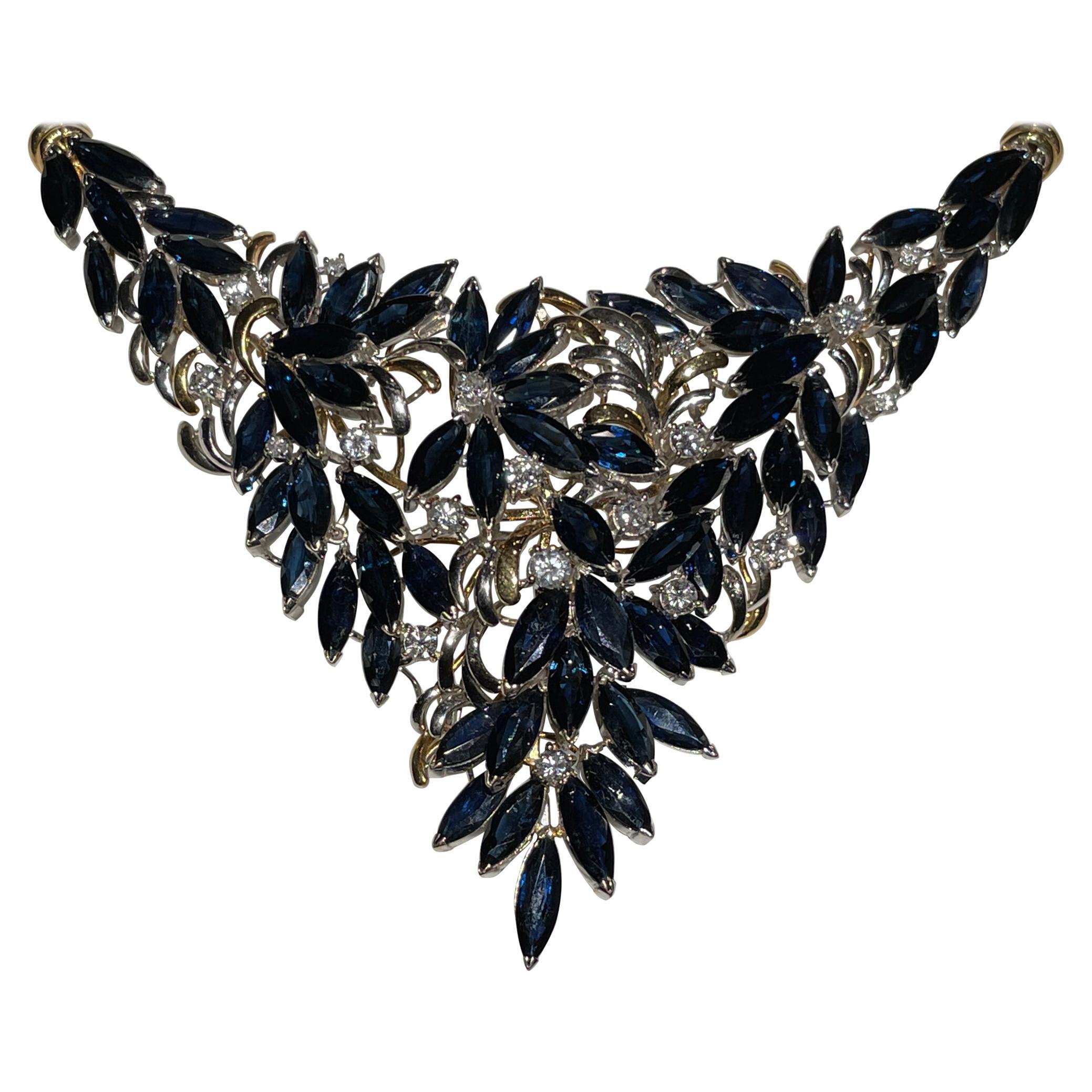 Diamond And Blue Sapphire 18k Necklace