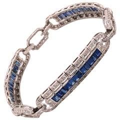 Diamond and Blue Sapphire Art Deco Revival Gold Bracelet Estate Fine Jewelry