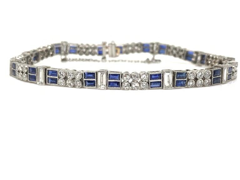 Diamond and Blue Sapphire Bracelet in Platinum For Sale 5