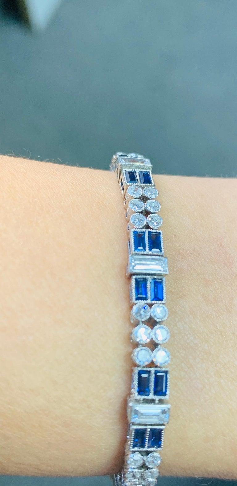 Diamond and Blue Sapphire Bracelet in Platinum For Sale 6