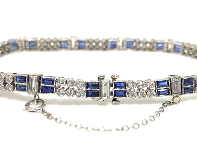 Baguette Cut Diamond and Blue Sapphire Bracelet in Platinum For Sale