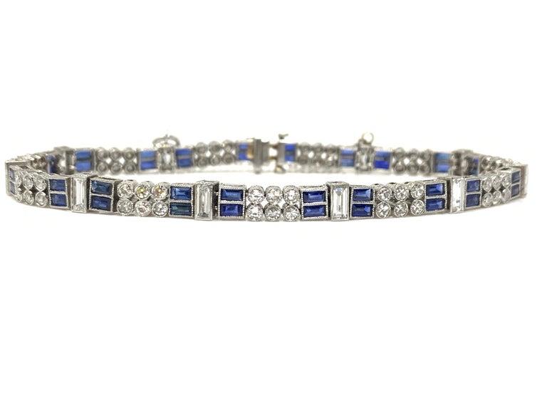 Women's Diamond and Blue Sapphire Bracelet in Platinum For Sale