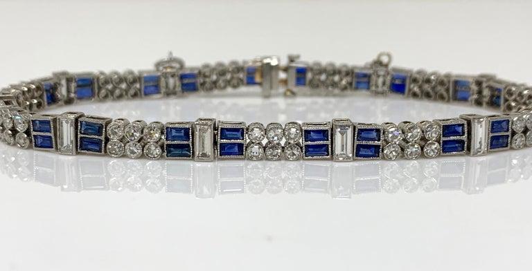Diamond and Blue Sapphire Bracelet in Platinum For Sale 1