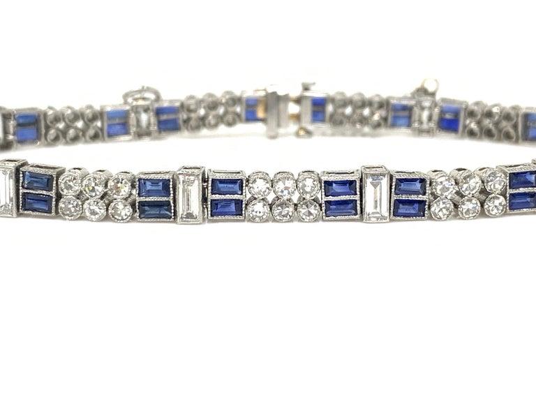 Diamond and Blue Sapphire Bracelet in Platinum For Sale 2