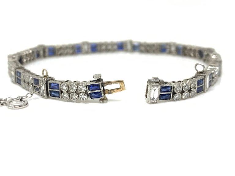 Diamond and Blue Sapphire Bracelet in Platinum For Sale 3