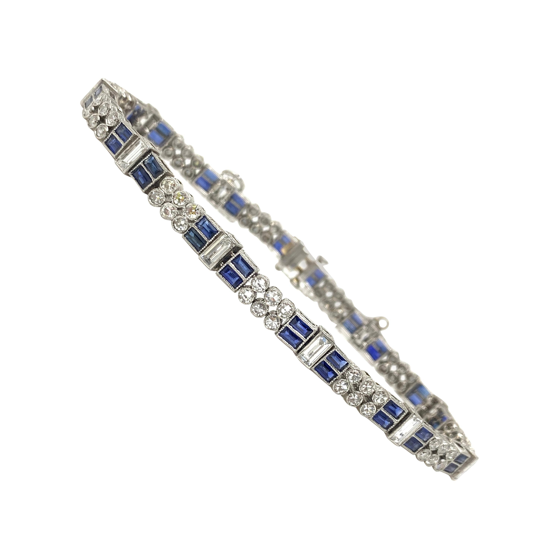 Diamond and Blue Sapphire Bracelet in Platinum