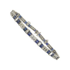 Diamond and Blue Sapphire Bracelet in Platinum