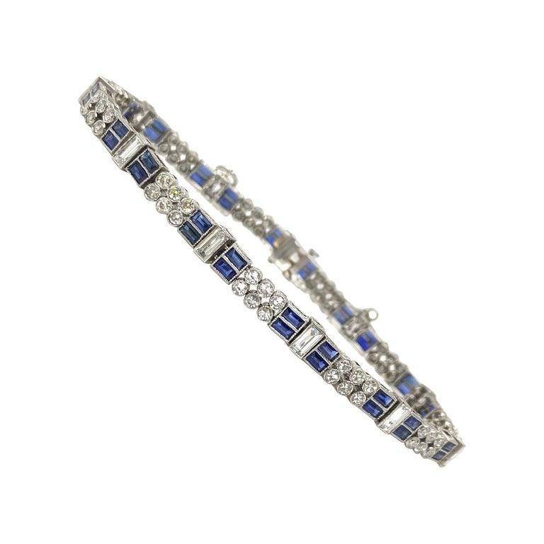 Diamond and Blue Sapphire Bracelet in Platinum For Sale