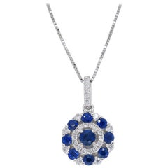 Diamond and Blue Sapphire Circle Pendant Necklace