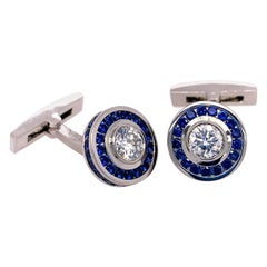 Diamond and Blue Sapphire Cufflinks