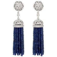 Diamond and Blue Sapphire Drop Earring in 18 Karat White Gold