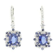 Diamond and Blue Sapphire Drop Earrings in 18 Karat Gold