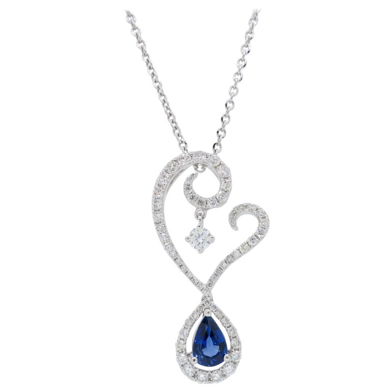 Diamond and Blue Sapphire Drop Pendant Necklace in 18 Karat White Gold For Sale