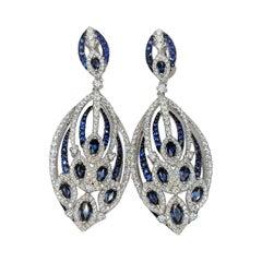 Diamond and Blue Sapphire Earrings in 18 Karat White Gold