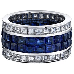 Diamond and Blue Sapphire Invisible Set Ring, Total of 10.33 Carat 18 Karat Gold