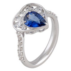 Studio Rêves Diamond and Blue Sapphire Love Ring in 18 Karat White Gold
