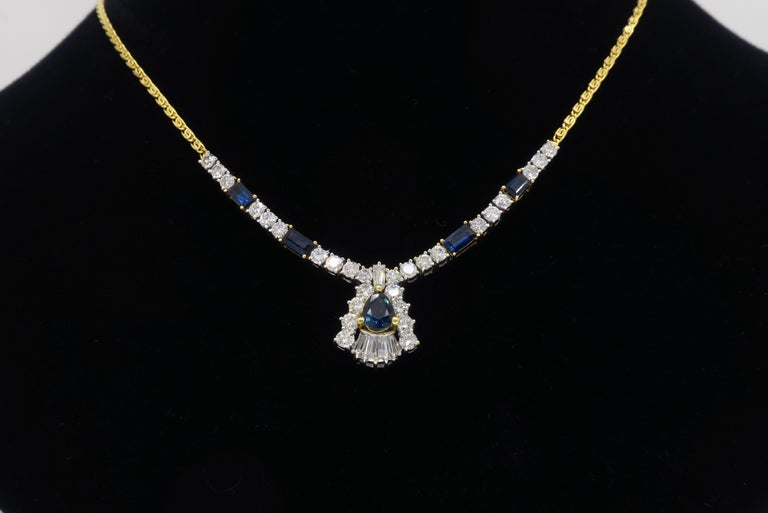 Women's or Men's Diamond and Blue Sapphire Necklace