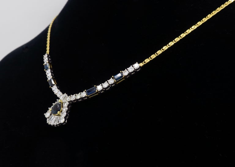 Diamond and Blue Sapphire Necklace 1