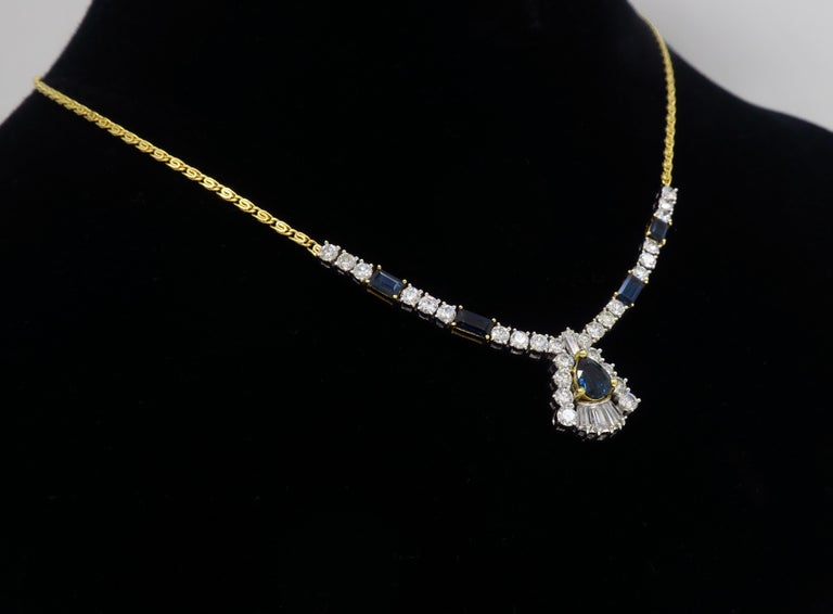Diamond and Blue Sapphire Necklace 2