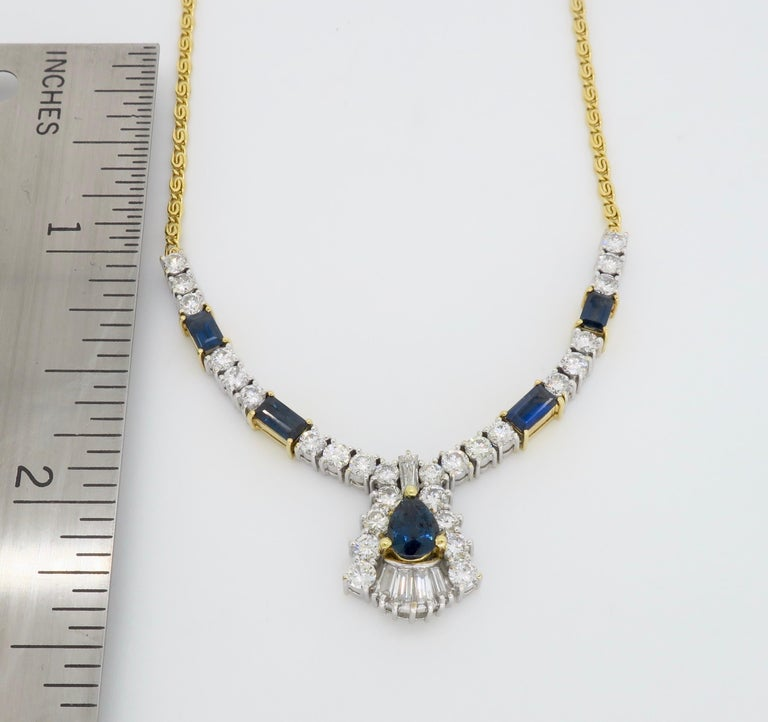 Diamond and Blue Sapphire Necklace 3