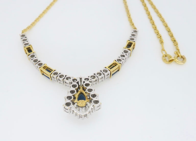 Diamond and Blue Sapphire Necklace 4