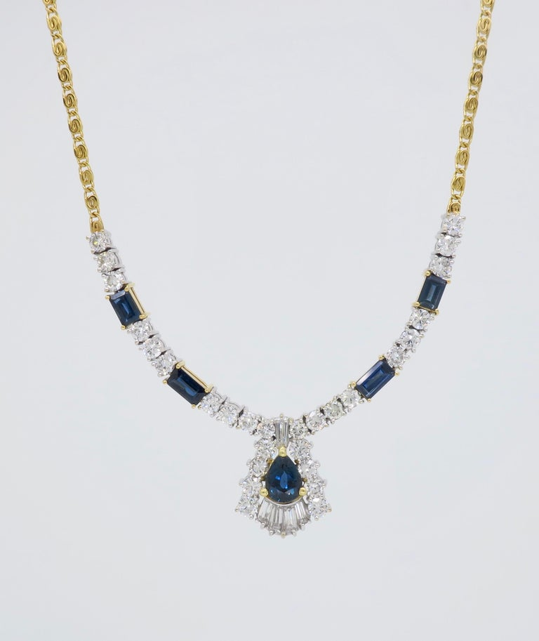 Diamond and Blue Sapphire Necklace 5