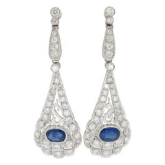 Diamond and Blue Sapphire Platinum Chandelier Earrings