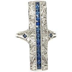 Diamond and Blue Sapphire Ring in 14 Karat White Gold