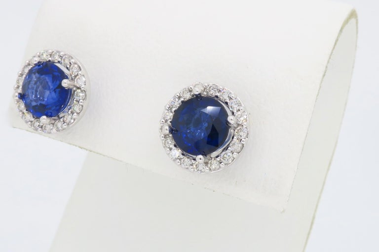 Diamond and Blue Sapphire Stud Earrings For Sale 1