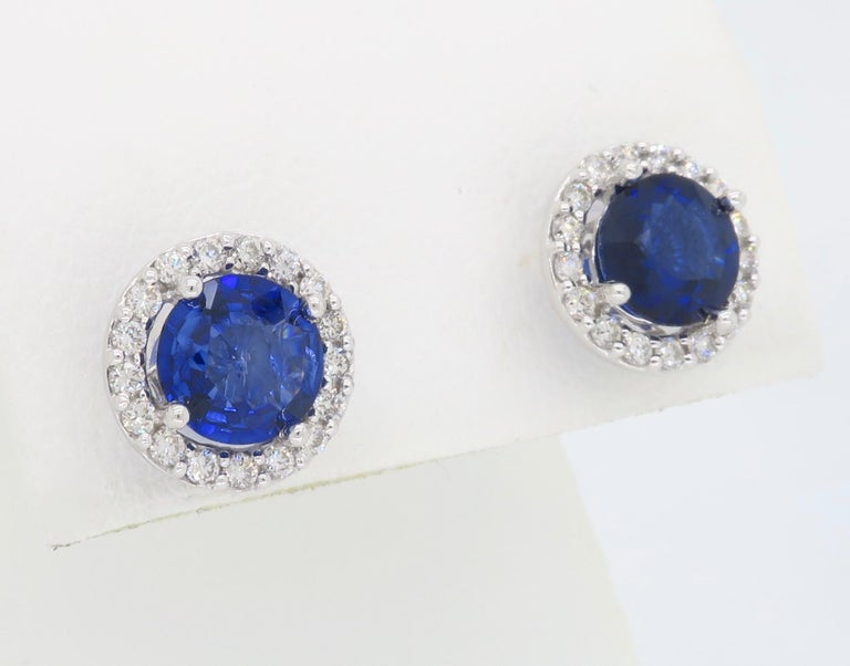 Diamond and Blue Sapphire Stud Earrings For Sale 2