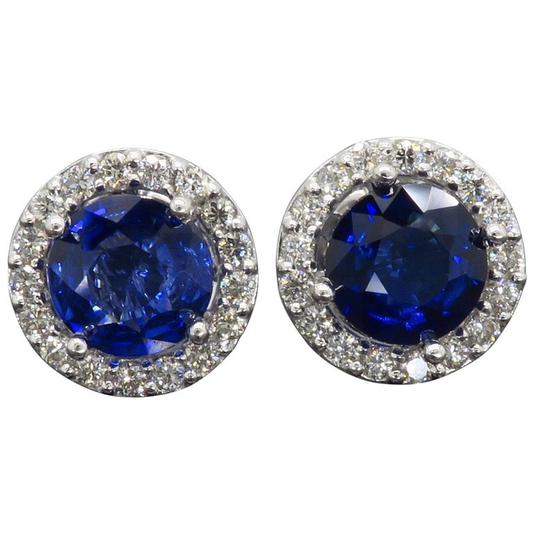 Diamond and Blue Sapphire Stud Earrings For Sale