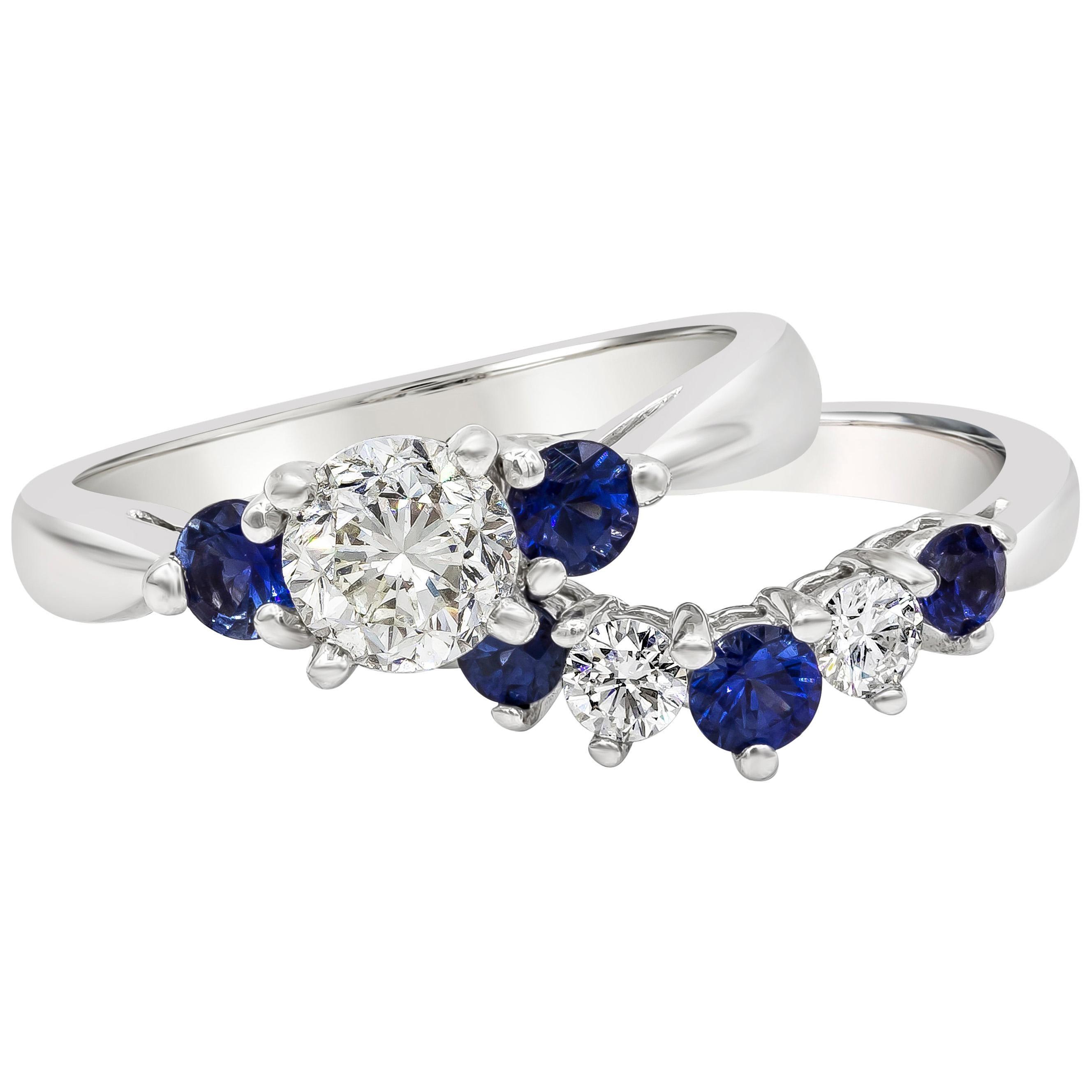 Diamond and Blue Sapphire Three-Stone Engagement Ring and Wedding Band Set