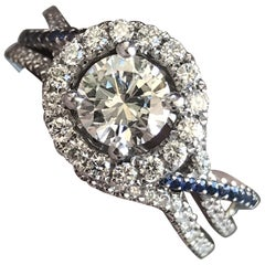 Diamond and Blue Sapphire Twist Engagement Ring, Ben Dannie