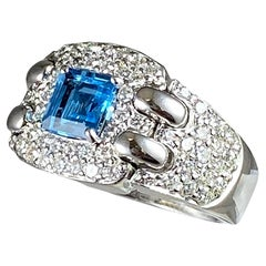 Hammerman Brothers Diamond and Blue Topaz Ring