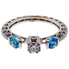 Diamond and Blue Topaz White Gold Ring