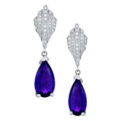 Diamond and Brazilian Amethyst Dangle Earrings 9.50 Ctw 14 Karat White Gold