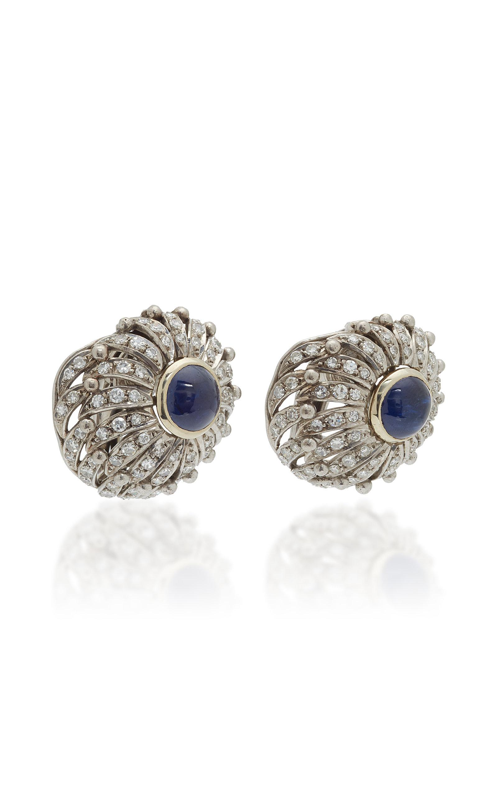 Made in Italien °° Retro rund °° Ohrclips blau mit Muster- Goldumrandung