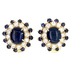 Diamond and Cabochon Sapphire Earring Clips