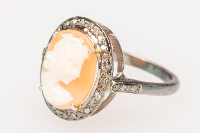 Round Cut Diamond and Cameo Ring in Sterling Silver For Sale